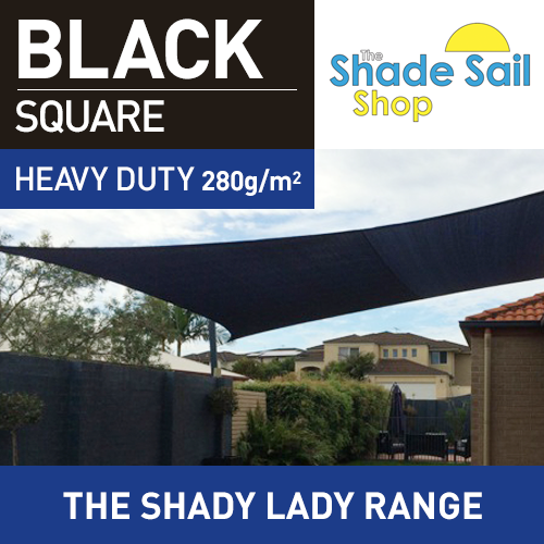2 m x 2 m Square BLACK The Shady Lady Range