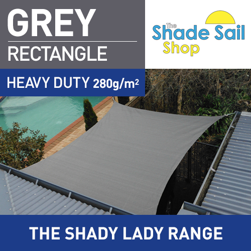 2 m x 4 m Rectangle GREY The Shady Lady Shade Sails Range