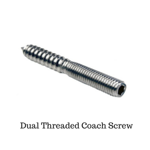 M8 70mm OAL Dual Thread Coach Screw 304 Stainless Steel