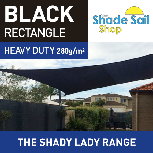 3.5 m x 4 m Rectangle BLACK The Shady Lady Shade Sail Range