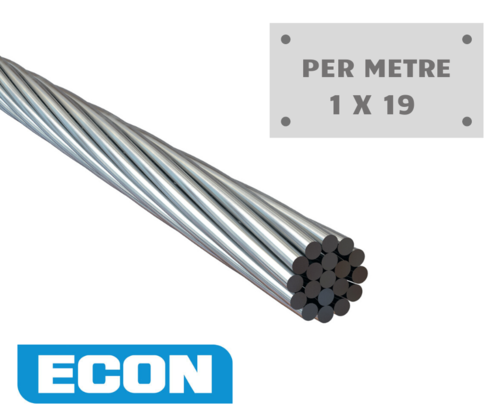 Wire Rope Econ - 3.2mm (1 x 19) Stainless steel - Per Metre