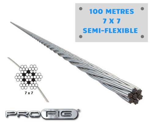 Wire Rope Pro-Rig - 3.2mm (7 x 7) Stainless steel - 100 Metre Korean Wire Semi Flexible