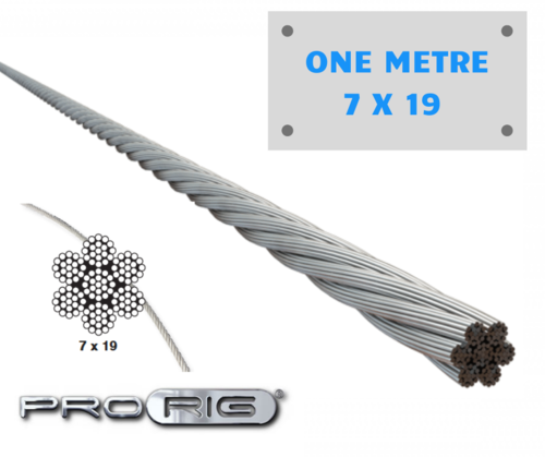2.5mm 7 x19 ProRig Flexible Wire Rope 316 Stainless Steel  Per Metre