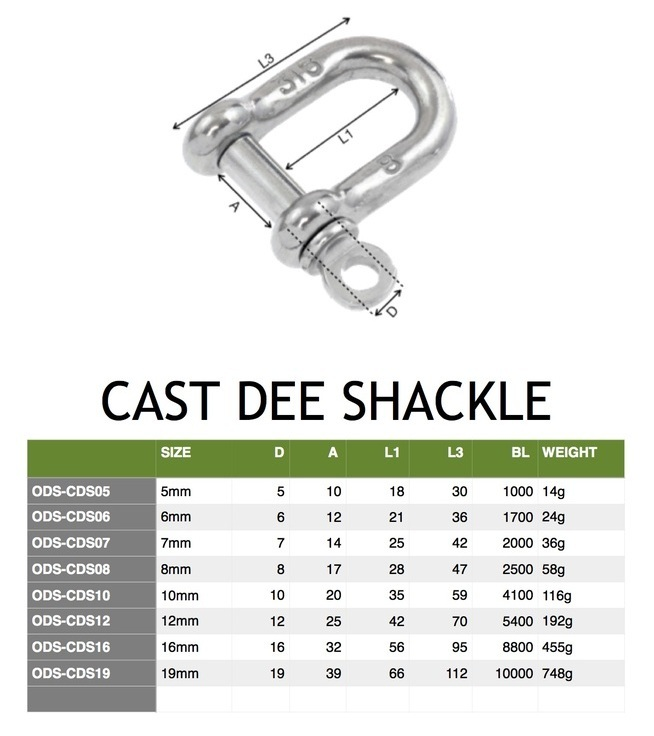 """Boat D-Shackle Stamped Stainless Steel 1//2/"""" Marine"""