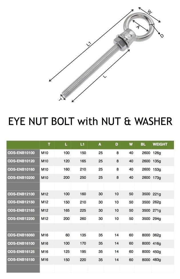 163mm overall length Stainless Steel Accessories Eyebolt M10 10mm Eye Bolt 110