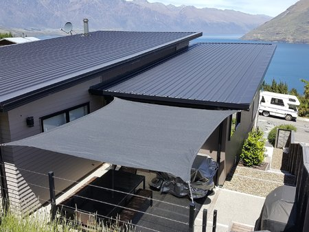 Some great pictures from Jason from Queenstown NZ, who has installed our 3.5x4m Custom Style 340gsm shade sail. What a great view you have thanks for sending in your photo's.\\n\\n21/12/2016 3:56 PM