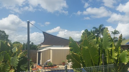 Thanks for Matt and Dot for sending in these pictures of there installed 6.5x Triangle shade sail.\\n\\n4/04/2017 2:00 PM