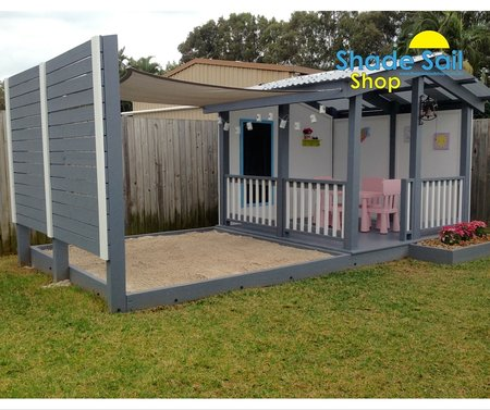 Thanks Darren for sending in these great pictures of you daughter's cubby house and sand pit. Looks gorgeous. Size of the shade sail is 2x2m in light grey\\n\\n15/06/2016 12:36 PM