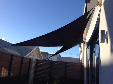 Shaun has sent in 2 photos taken from outside and inside his apartment to show shading and affect of 2 right angle triangle shade sails, size 2x3x3.6m black Thanks so much for your great photos\\n\\n29/12/2015 8:54 PM