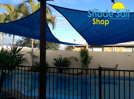 Thanks Sharon for sending these great photo's of you installed shade sails, looks fantastic. Size is right angle triangle shade sail in 5x6x7.8m navy blue.\\n\\n8/08/2016 2:00 PM
