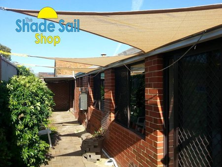 From our Happy customer Benedict - Installed these three myself to shade three windows on the north facing side of the house. Should help keep the house cool during summer without having to close the blinds. Size 2x2x2m Triangle sand\\n\\n21/10/2014 8:51 PM