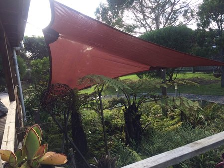 Thanks Maria and Ian for sending in this great photo of your installed custom made shade sail. It made its way to King Island Tasmania and looks fantastic. Colour from the Monotec range - Marrocan\\n\\n24/05/2017 12:05 PM