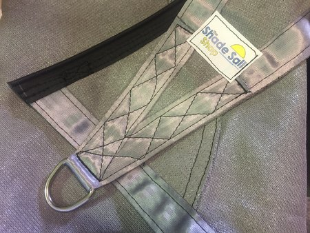 Custom made shade sail with buckle and rope track. Material Commercial 95, colour Steel Grey 340gsm. 10 year UV life span on material.\\n\\n19/04/2017 10:45 AM