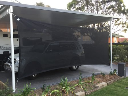 Custom made shade sail 2.6x6.0 fitted vertically. Colour Dominio Material Monotec. Thanks Greg for sending in your photo's\\n\\n2/08/2017 12:14 PM