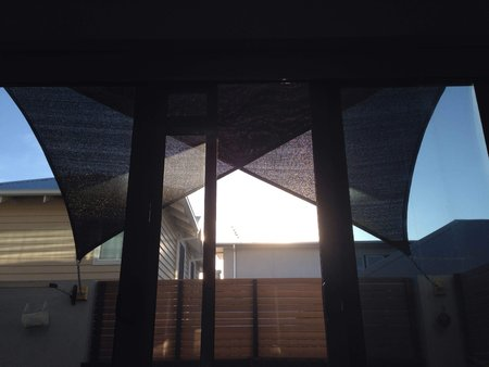 Shaun has sent in 2 photos taken from outside and inside his apartment to show shading and affect of 2 right angle triangle shade sails, size 2x3x3.6m black Thanks so much for your great photos\\n\\n29/12/2015 8:53 PM