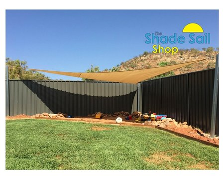 Sara has sent in her photo of here installed right angle triangle shade sail which is providing some much needed shade for the sand pit.\\n\\n24/11/2015 5:18 PM
