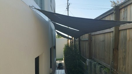 Great install by Trevor. Our smaller shade sails 1.5x2.5m Grey Shady Lady shade sail fit perfectly down the side of the house. Installed with pad eyes, turnbuckles and snap hooks. Thanks for you photo's.\\n\\n21/09/2017 5:50 PM