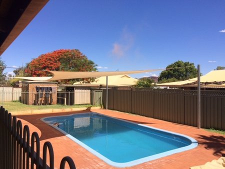 7x8 Sand rectangle shade sail in use over a pool in Western Australia\\n\\n24/02/2016 2:52 PM