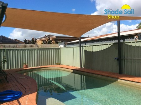 Custom made 5 sided shade sail installed by Jack. Colour is Cappuccino from Comshade with a 10 year uv life span. Thanks for sending in your photo's..\\n\\n8/12/2016 8:11 PM