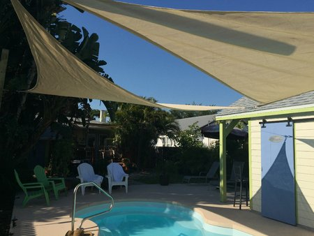 Jennifer from the USA has sent through her pictures of 2x 5x5x5m sand Shade Sail installed over her pool.\\n\\n10/05/2015 12:44 PM