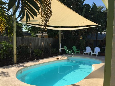 Jennifer from the USA has sent through her pictures of 2x 5x5x5m sand Shade Sail installed over her pool.\\n\\n10/05/2015 12:45 PM