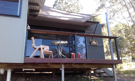 Glenys has sent in her installation photo which has been a great fit over the deck. Size is 2x3m in light grey.\\n\\n3/07/2016 10:57 AM